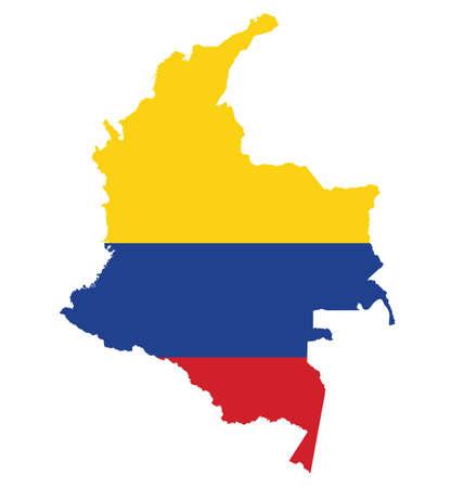 bandera de colombia: Bandera de la República de Colombia superpuesta sobre mapa detallado contorno aislado en el fondo blanco