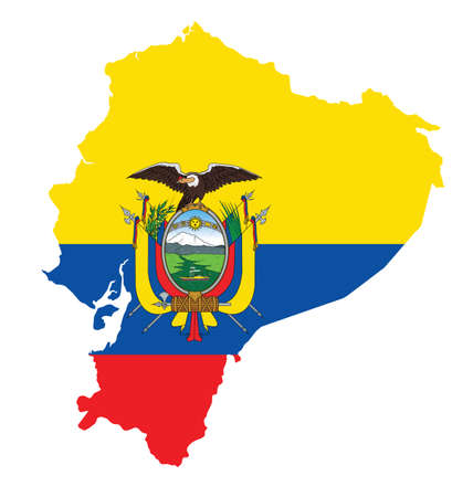 ecuador: Flag of the Republic of Ecuador overlaid on detailed outline map isolated on white background