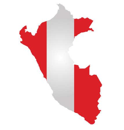 mapa del peru: Bandera de la República del Perú superpuesta sobre mapa detallado contorno aislado en el fondo blanco Vectores