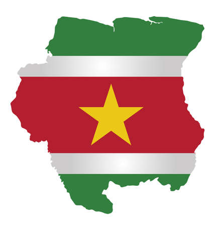 suriname: Flag of the Republic of Suriname overlaid on detailed outline map isolated on white background