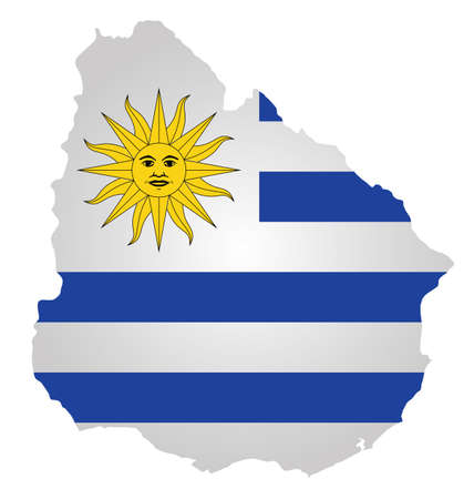 uruguay: Flag of the Eastern Republic of Uruguay overlaid on detailed outline map isolated on white background