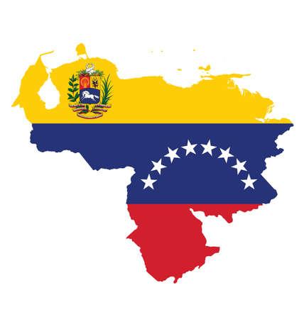 mapa de venezuela: Bandera de la República Bolivariana de Venezuela superpuesta sobre mapa detallado contorno aislado en el fondo blanco