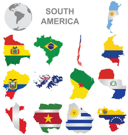 latin americans: Flags of South America collection overlaid on outline map isolated on white background