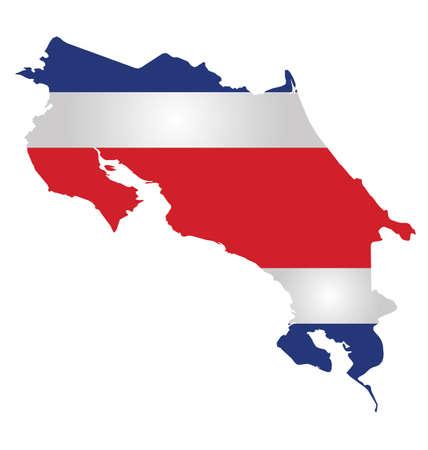 bandera de costa rica: Bandera de la República de Costa Rica superpuesta en el mapa contorno aislado en el fondo blanco