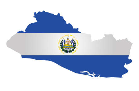 el salvador: Flag of the Republic of El Salvador overlaid on outline map isolated on white background