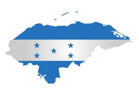 bandera honduras: Bandera de la República de Honduras superpuesta en el mapa contorno aislado en el fondo blanco Vectores