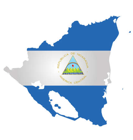 nicaragua: Flag of the Republic of Nicaragua overlaid on outline map isolated on white background