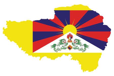 チベットの旗また白い背景で隔離の概要地図に重ねて 1912年で導入された雪ライオンの旗を知っています。