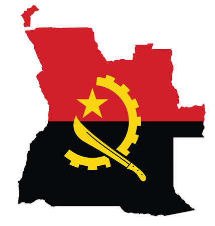 angola: Flag of the Republic of Angola overlaid on outline map isolated on white background
