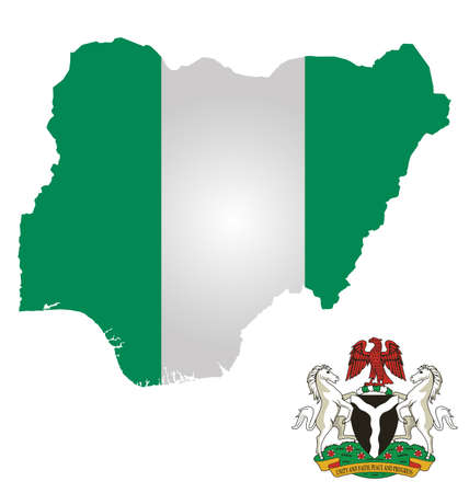 nigeria: Flag and coat of arms of the Federal Republic of Nigeria overlaid on outline map isolated on white background