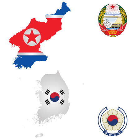 Flags and national emblems of the North and South Korea overlaid on detailed outline map isolated on white background Illustration