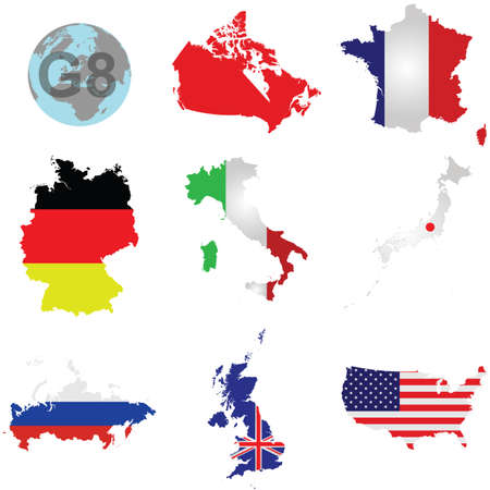 industrialized country: Flags of the G8 member countries overlaid on outline map isolated on white background Canada shown solid colour due to copyright restrictions