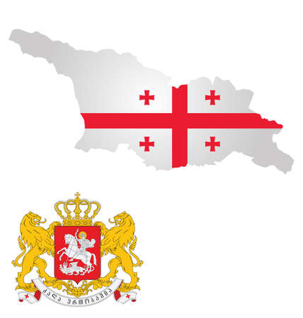 georgia flag: Flag and coat of arms of Georgia overlaid on outline map isolated on white background Illustration