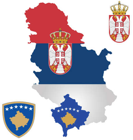 serbia flag: Flag the Republic of Serbia and the Republic of Kosovo overlaid on outline map Illustration