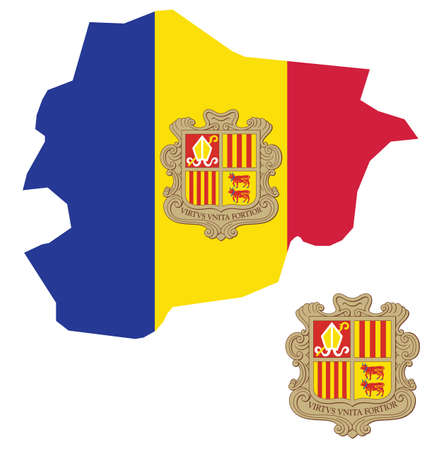 stronger: Flag and coat of arms of the Principality of Andorra overlaid on outline map isolated on white background text translation United virtue is stronger
