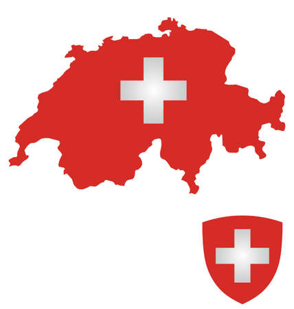swiss insignia: Flag and coat of arms of the Swiss Confederation overlaid on outline map isolated on white background