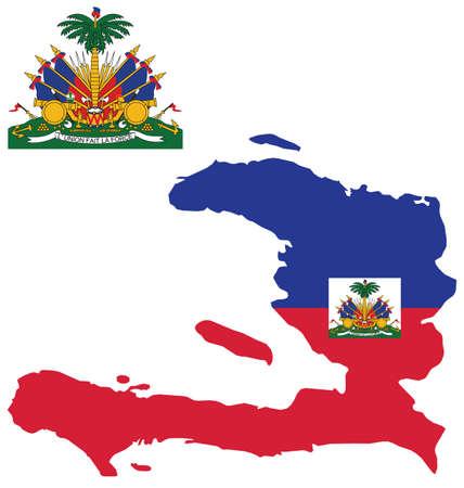 la union hace la fuerza: Bandera y escudo de armas de la Rep�blica de Hait� superpuestos en el mapa contorno aislado en blanco traducci�n fondo emblema uni�n hace la fuerza