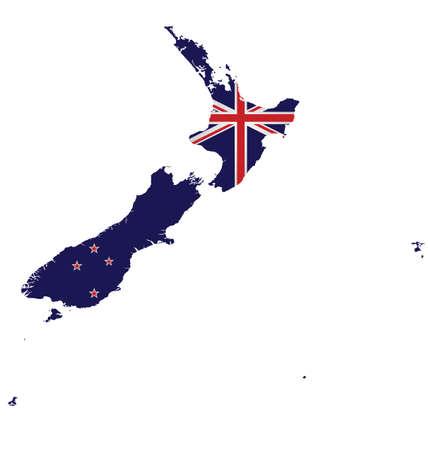 bandera de nueva zelanda: Bandera de Nueva Zelanda superpuesta en el mapa detallado aisladas sobre fondo blanco Vectores