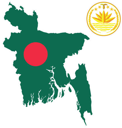 Flag and national emblem of the Peoples Republic of Bangladesh overlaid on outline map isolated on white background Vector