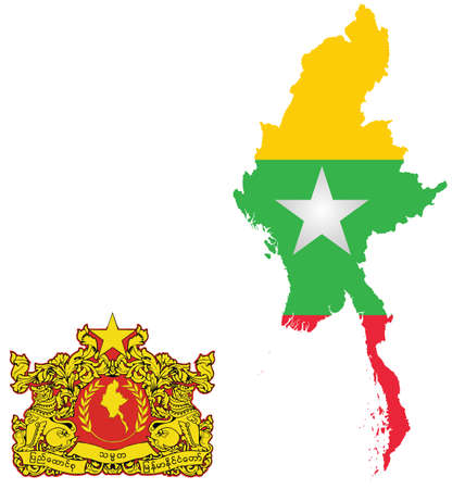 myanmar: Flag and state seal of the Republic of the Union of Myanmar overlaid on detailed outline map isolated on white background Illustration