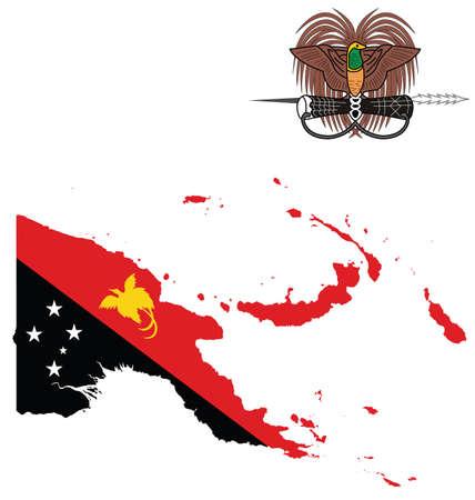 papouasie: Drapeau et de l'�tat sceau de l'�tat ind�pendant de Papouasie-Nouvelle-Guin�e superpos�e sur la carte d�taill�e de contour isol� sur fond blanc