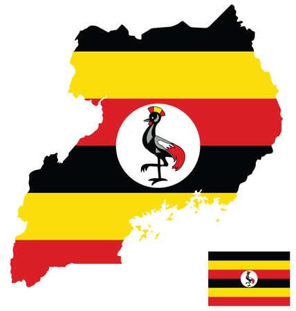 uganda: Flag of the Republic of Uganda overlaid on detailed outline map isolated on white background