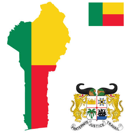 Flag and national coat of arms of the Republic of Benin overlaid on detailed outline map isolated on white background Vector