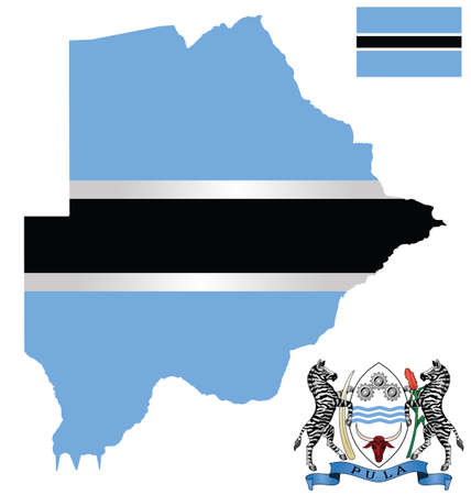 botswana: Flag and national coat of arms of the Republic of Botswana overlaid on detailed outline map isolated on white background