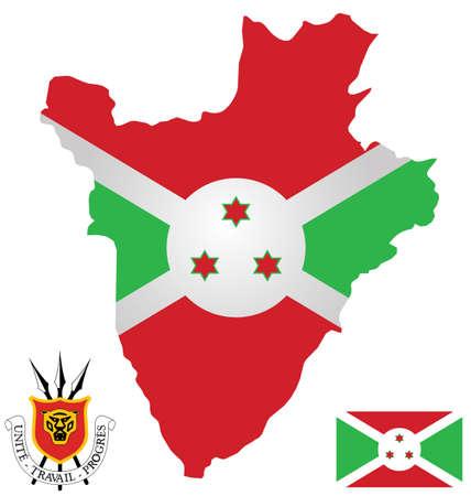 burundi: Flag and national coat of arms of the Republic of Burundi overlaid on detailed outline map isolated on white background French text translation Unity Work Progress