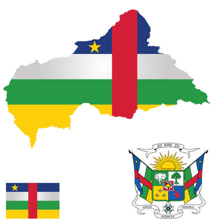 dignity: Flag and national coat of arms of the Central African Republic overlaid on detailed outline map isolated on white background French translation Unity Dignity Work