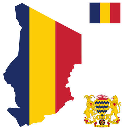 chad: Flag and national coat of arms of the Republic of Chad overlaid on detailed outline map isolated on white background French translation Unity Work Progress Illustration
