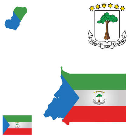guinea: Flag and national coat of arms of the Republic of Equatorial Guinea overlaid on detailed outline map isolated on white background Spanish translation Unity peace Justice