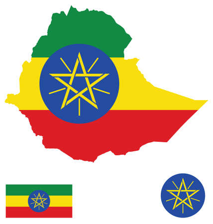 ethiopia: Flag and national coat of arms of the Federal Democratic Republic of Ethiopia overlaid on detailed outline map isolated on white background Illustration