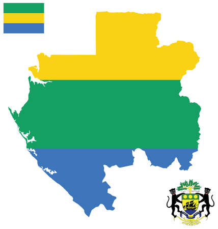 gabon: Flag and national coat of arms of the Gabonese Republic overlaid on detailed outline map isolated on white background