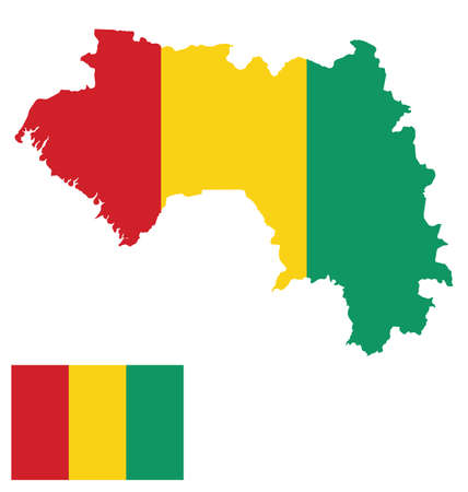 guinea: Flag of the Republic of Guinea overlaid on outline map isolated on white background Illustration