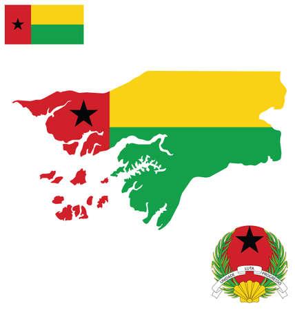 guinea bissau: Flag and national coat of arms of the Republic of Guinea Bissau overlaid on detailed outline map isolated on white background Portuguese translation Unity Struggle Progress Illustration