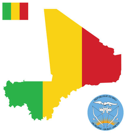 mali: Flag and national coat of arms of the Republic of Mali overlaid on detailed outline map isolated on white background French translation One People One Goal One faith