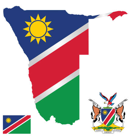 Flag and national coat of arms of the Republic of Namibia overlaid on detailed outline map isolated on white background