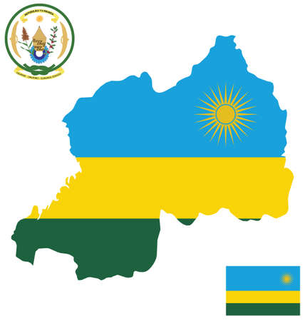 motto: Flag and coat of arms of the Republic of Rwanda overlaid on detailed outline map isolated on white background national motto Unity Work Patriotism