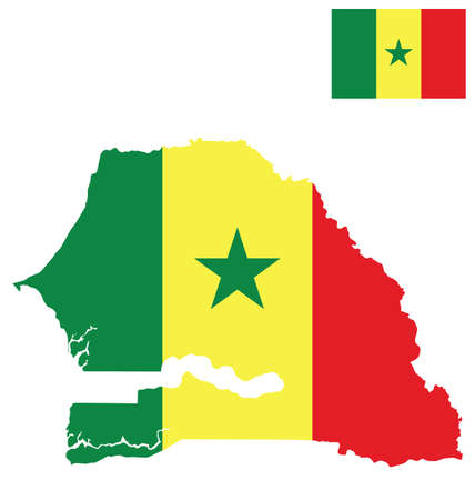one people: Flag of the Republic of Senegal overlaid on detailed outline map isolated on white background national motto One People One Goal One Faith