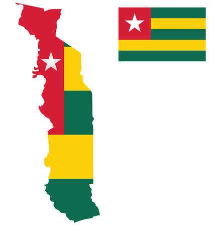 togo: Flag of the Togolese Republic overlaid on detailed outline map isolated on white background