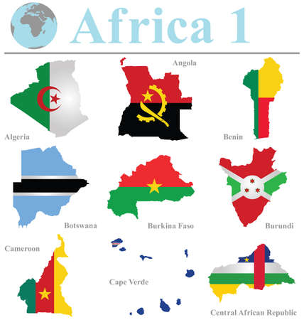 burundi: Flags of Africa collection 1 overlaid on outline map isolated on white background