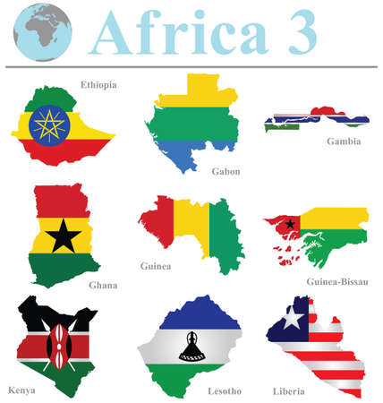 liberia: Flags of Africa collection 3 overlaid on outline map isolated on white background