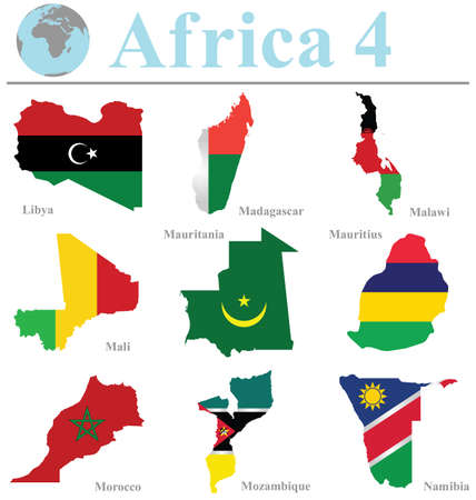 mauritius: Flags of Africa collection 4 overlaid on outline map isolated on white background