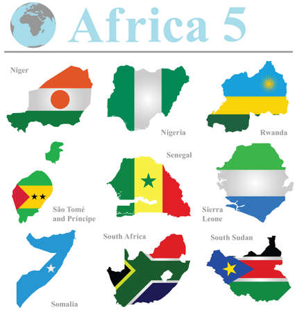 Flags of Africa collection 5 overlaid on outline map isolated on white background Vector