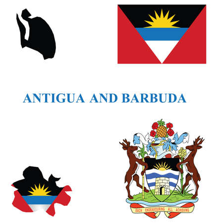 barbuda: Flag and national coat of arms of the Antigua and Barbuda overlaid on detailed outline map isolated on white background