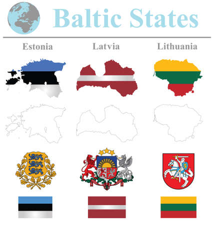 Flags of the Baltic States collection overlaid on outline map isolated on white background