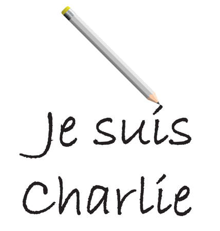 massacre: Je suis Charlie French for I am Charlie isolated on white background