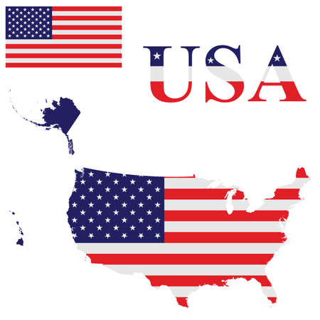 Flag Of The United States Of America Including Alaska And Hawaii - Usa map with alaska and hawaii