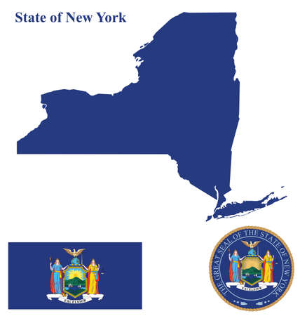 translated: Flag of State of New York and state seal overlaid on detailed outline map isolated on white background Latin motto Excelsior translated as Ever Upward